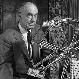 A.C. Gilbert poses with an Erector Set